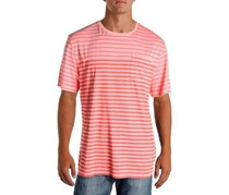 Nautica Mens Striped Cotton T-Shirt, Pale Coral