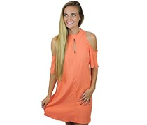 PPLA Aria Cold Shoulder Dress, Tangerine