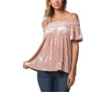 PPLA Pearla Crushed Velvet Off The Shoulder Top, Blush