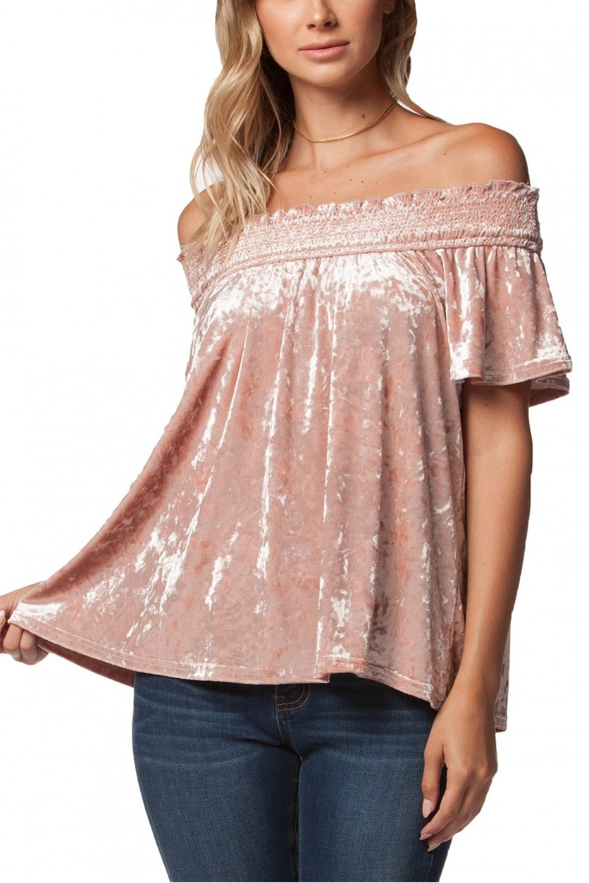 Pearla Crushed Velvet Off The Shoulder Top, Blush