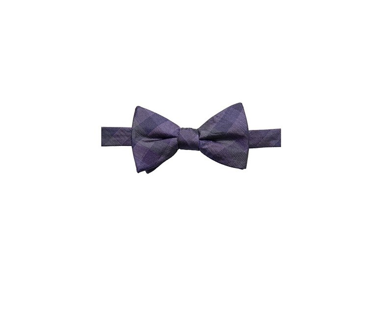 Men's Warwick Gingham Pre-Tied Silk Bow Tie, Purple