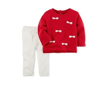 Carters 2-Pcs. Cotton Bows Sweater Knit Pants, Red/Ivory