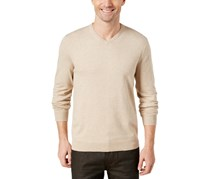 Alfani Men's V-Neck Sweater, Sandcastle Heather