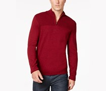 Mens Quarter-Zip Knit Sweater, Red Velvet Heather