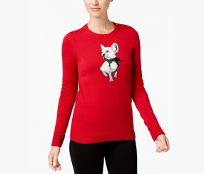 Charter Club French Bulldog Sweater, New Red Amore Combo