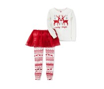 3-Pcs. Merry Bright Tutu Leggings Tops Set, Ivory/Red Combo