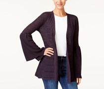Style & Co Pointelle Bell-Sleeve Cardigan, Dark Grape