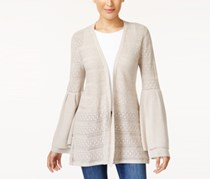 Style & Co Pointelle Bell-Sleeve Cardigan, Hammock Heather