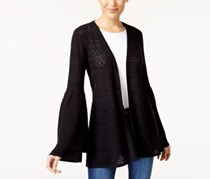 Style & Co Pointelle Bell-Sleeve Cardigan, Deep Black