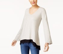 Style & Co Lace-Trim Sweater Top, Hammock Heather