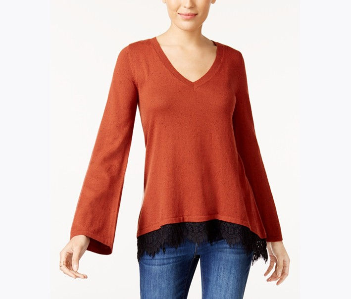 Style & Co Lace-Trim Sweater,  Rich Auburn