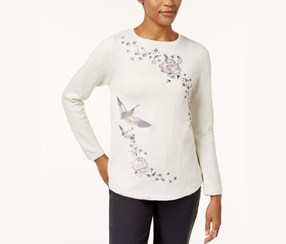Style & Co Embroidered Cotton Sweater, White Heather Combo