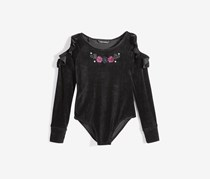 Nowadays Tween Velvet Bodysuit, Black