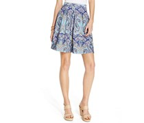 INC International Concepts Petite Paisley-Print Pleated Scuba Mini Skirt, Blue
