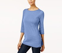Cotton Boat-Neck Tunic Top, Heather Indigo