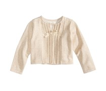 First Impressions Pleated Cardigan, Ivory Cloud/Gold Metallic