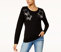 INC Womens Knit Embellished Sweater, Deep Black
