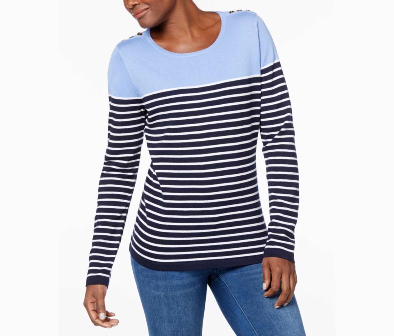 Karen Scott Button-Shoulder Striped Sweater, Blue Finch Combo