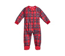 Family Pajamas Holiday Plaid Footed Pajamas, Red Combo