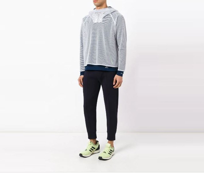 Men's Mesh Layered Sweatshirt, Off White/Navy