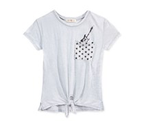 Kandy Kiss Girl's Top's Pocket-Graphic T-Shirt, Grey