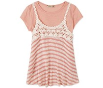 Speechless Crochet Stripe Slip Top, Rose