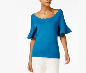 Flared-Sleeve Top, Blue Sapphire