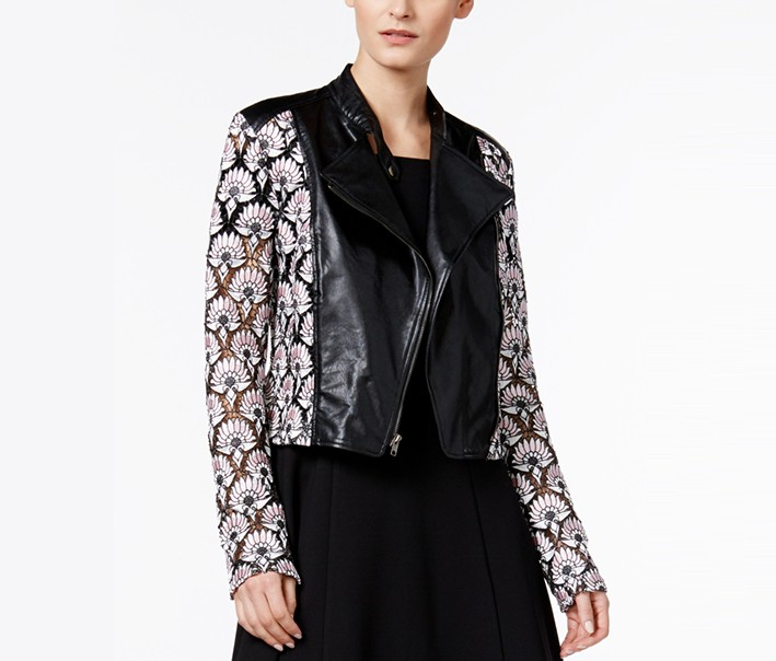 YYigal Womens Faux Leather Lace Motorcycle Jacket, Black Combo