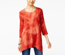 Jm Collection Women's Tie Dyed Sequined Tunic, Orange