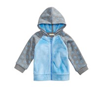 Bear-Print Hoodie, Pewter Heather/Blue