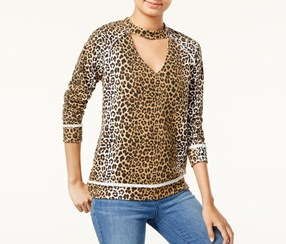 Juniors' Printed Cutout Top, Leopard
