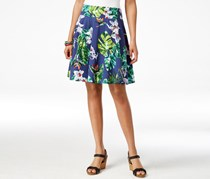 American Living Pull-On Floral-Print Skirt, Navy