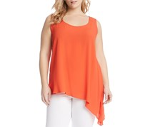 Karen Kane Womens Plus Asymmetric Sleeveless Tank Top, Orange
