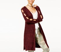 Ohmg Juniors' Peekaboo-Sleeve Cardigan, Burgundy