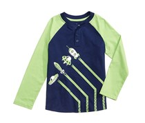 Epic Threads Take-Off Graphic-Print Henley Shirt, Medieval Blue/Green