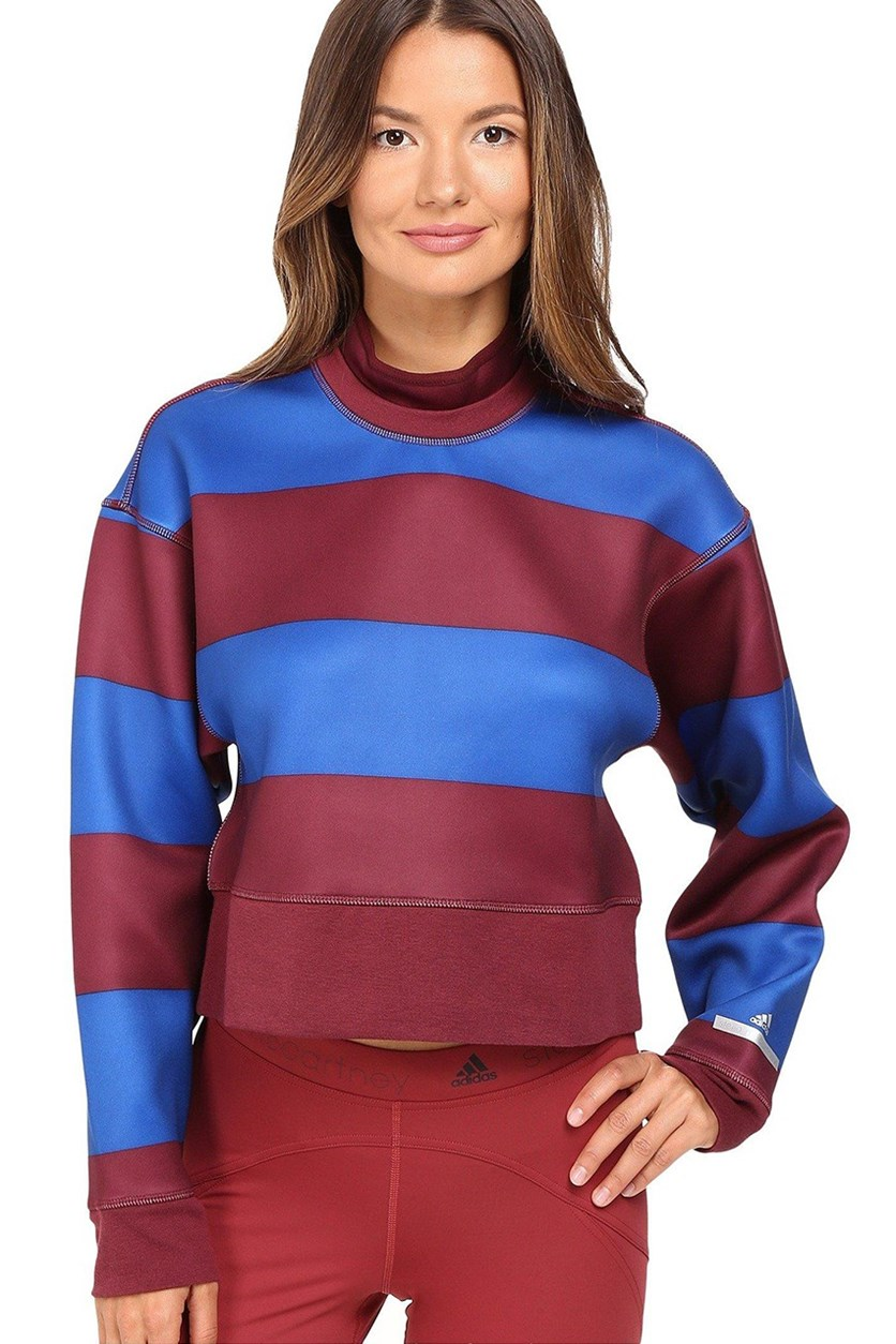 by Stella McCartney Women's Run Striped Sweatshirt, Solar Red/Blue