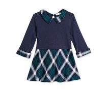Monteau Shirt Collar Plaid Popover Top, Navy/Green Combo