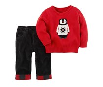 Carters 2-Pcs. Cotton Penguin Sweater Pants Set, Red/Black Combo