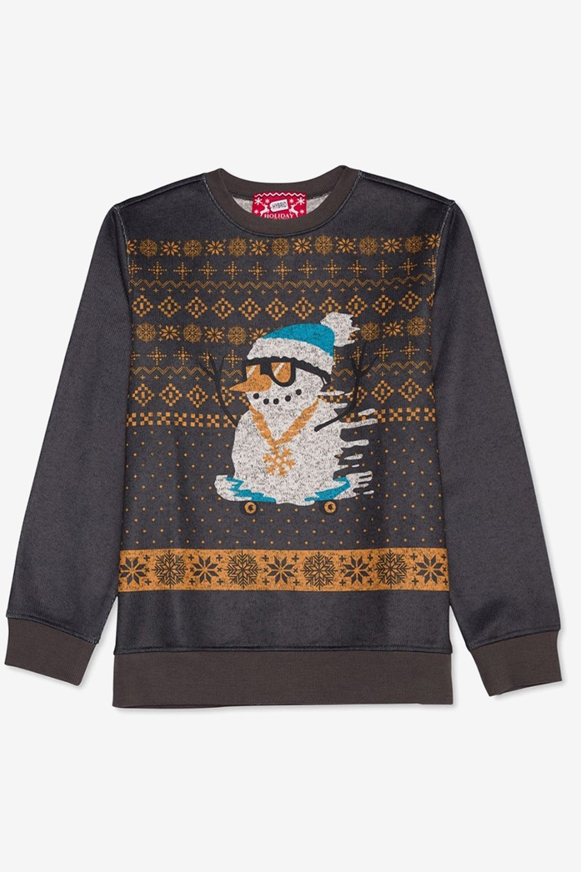 Snowman Pullover Sweater, Charcoal