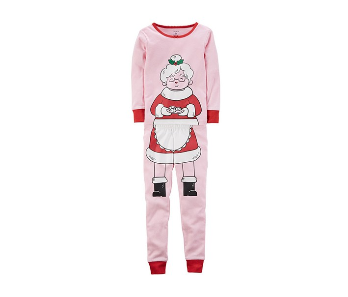 Carters 2-Pc. Mrs. Claus Cotton Pajama Set, Pink Combo