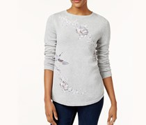 Style & Co Embroidered Cotton Sweater, Light Grey Combo