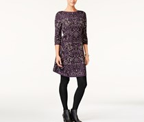 Style & Co Jacquard Sweater Dress, Grape Combo