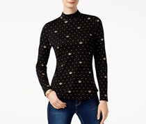 Charter Club Cotton Print Top, Deep Black Crown