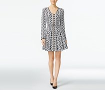 Inc International Concepts Fit & Flare Sweater Dress, Black/White