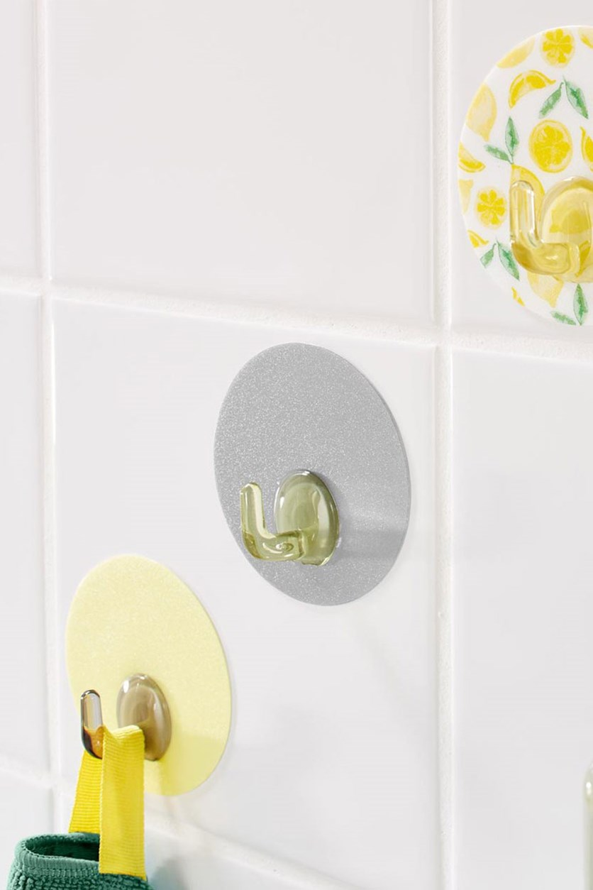 Wall Hooks Set of 3, Grey/Yellow