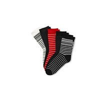 Women's Socks Set of 5, Black/White/Red