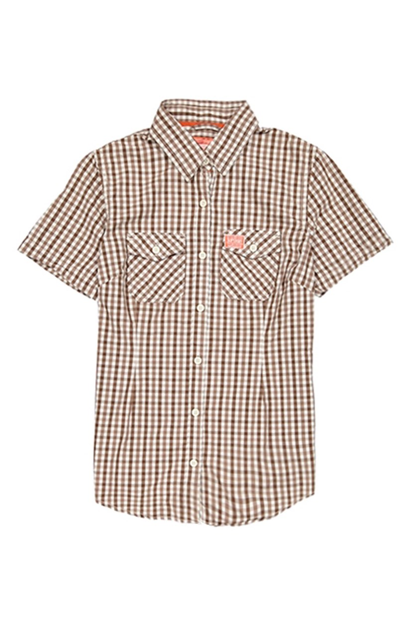 Washbasket Short Sleeve Shirt, Brown/White