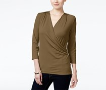 Charter Club Petite Crossover Wrap Top, Salty Nut