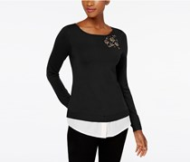 Charter Club Layered-Look Brooch Sweater, Deep Black