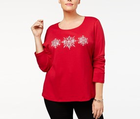 Karen Scott Plus Size Cotton Snowflake Graphic Top, New Red Amore